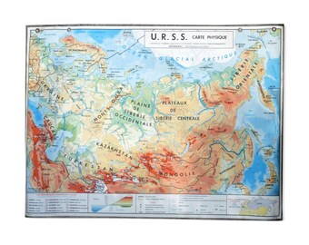 School edition MDI USSR vintage poster / / Magic' chip / old geography map / vintage school map / USSR / school card