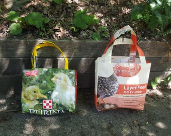 Feed Sack Tote Bags - Handcrafted from chicken feed sacks
