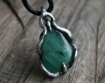 men NECKLACE, men pendant AVENTURINE gemstone necklace GREEN pendant, mens silver flakes pendant rustic ancient goth Blacksmithworkshop