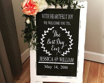 Chalkboard Easel - Welcome Wedding Chalk Board Sign // Wedding Chalk Board Easel // The Best Day Ever