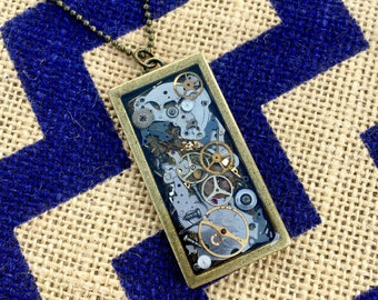 Bronze Steampunk Rectangle Necklace