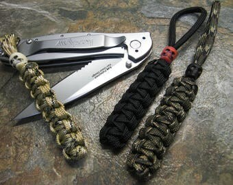 3 pack knife lanyard no core paracord three colors with skull bead ohio made