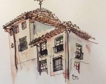 Granada- Watercolor- Giclée Print- Spanish Architecture