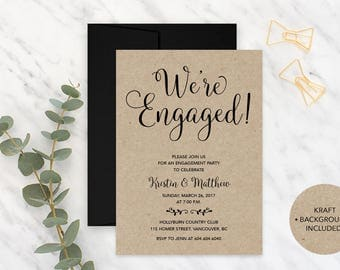 Kraft Paper Engagement Invitation, Engagement Party Invitation, Printable Engagement Party Invitation, We're Engaged Invitation