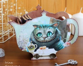 Alice in wonderland, cheshire cat, mad tea party, wooden candy box, tea pot, kitchen decor