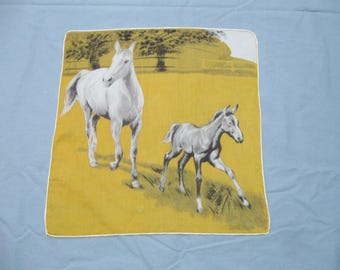 Vintage Printed Ladies Hankie Handkerchief Horses Small Hole Hand Rolled Hem Artist Signed Free Shipping See Details
