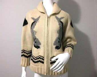 Vintage COWICHAN Sweater - Salmon and Fish on front and back - Zip up - Native American Jacket - Size Medium