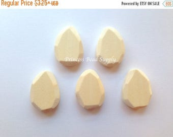 SALE Faceted Tear Drop Natural Wood Teething Beads,  42mm Wooden Beads, Natural Unfinished Wood Teething Beads,  Natural Wooden Beads