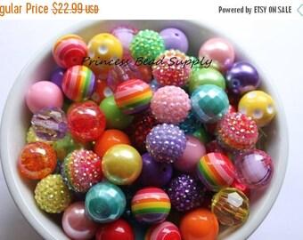 SALE 100 Pink Rainbow Bead Mix,  100 20mm Chunky Bulk Beads,  Bulk Bead Mix, Wholesale Beads, 100 Bubble Gumball Beads 20mm Wholesale Beads