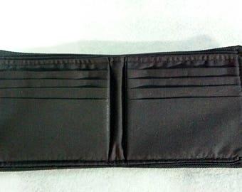Updated Men's Fabric Vegan Bifold Fabric Wallet Black/Brown