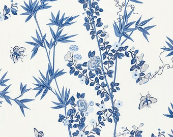 SCALAMANDRE CHINOISERIE BUTTERFLIES Cotton Toile  Fabric 10 Yards Porcelain