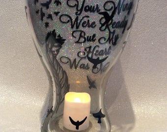 Memorial glitter vase mum dad nan grandad