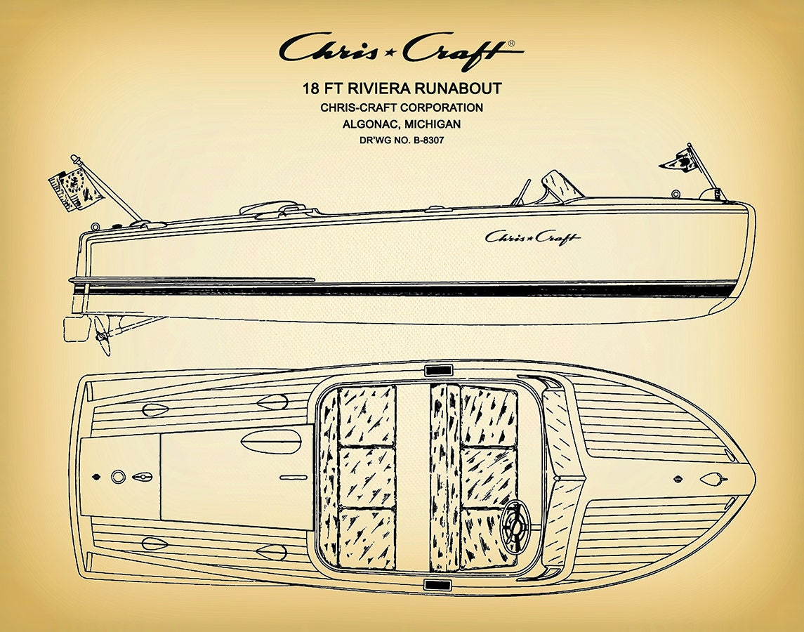 Chris Craft Riviera Runabout Classic Mahogany Wooden Boat Drawing 18 Ft Motorboat Art Print