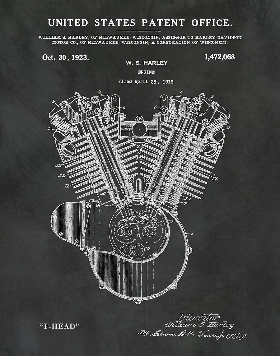 1919 Harley Engine Patent Print   Harley F Head Engine Poster   Wall Art   Harley  Davidson   Hells Angels   Man Cave   Harley Shrine Decor