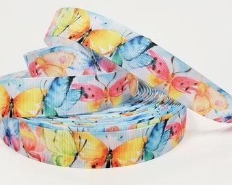 "7/8"" inch Colorful Butterflies - Printed Grosgrain Ribbon for Hair Bow - Original Design"