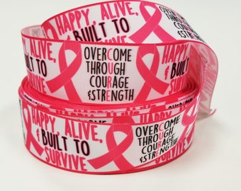 "1.5"" inch Breast Cancer Awareness - Build to Survive -  CURE -  Printed Grosgrain Ribbon for 1 1/2 inch  Hair Bow"