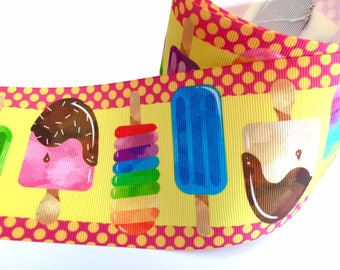 3 inch Ice Cream Pops Popcicles  Colorful Printed Grosgrain Ribbon Cheer Hair Bow - 3""