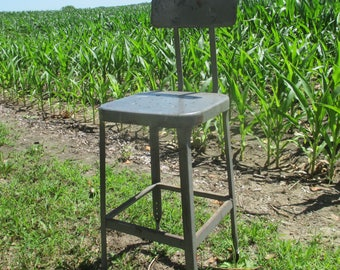 Metal Milking Stool Chair Kitchen Bar Industrial Age Workbench Vintage Seat a2