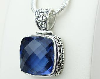 London Blue Topaz Vintage Setting 925 S0LID Sterling Silver Pendant + 4MM Snake Chain & Worldwide Shipping p4228
