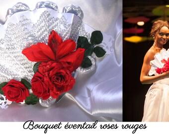 Bouquet Éventail mariée Roses rouges