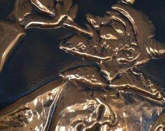 Copper/relief/signed/1962/Ragnar Parcks/Stockholm/scandinavian modern/viking/midcentury modern/picture/art work