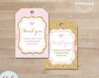 50% OFF SALE Pink and Gold favor tags, Thank you Tags, Baby shower Gift Favors, Chevron Party Decoration, Party Favors, Printable DIY, Insta
