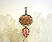 RESERVED Custom Listing for Narelle ~ Petrified Silky Oak and Rhodochrosite Pendant ~ Handcrafted with Recycled Sterling Silver