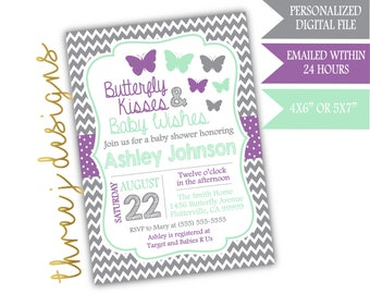 Butterfly Baby Shower Invitation - Gray, Lavender, and Mint - Digital File - J005