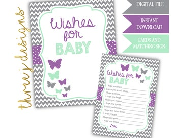Butterfly Baby Shower Wishes for Baby Cards and Sign - INSTANT DOWNLOAD - Gray, Lavender and Mint - Digital File - J005