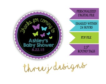 Butterfly Baby Shower Personalized Thank You Favor Tags - Purple, Teal and Green - Digital File - J006
