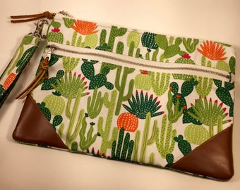 Cactus Succulent Double Zippered Pouch Wristlet with Leather corners.