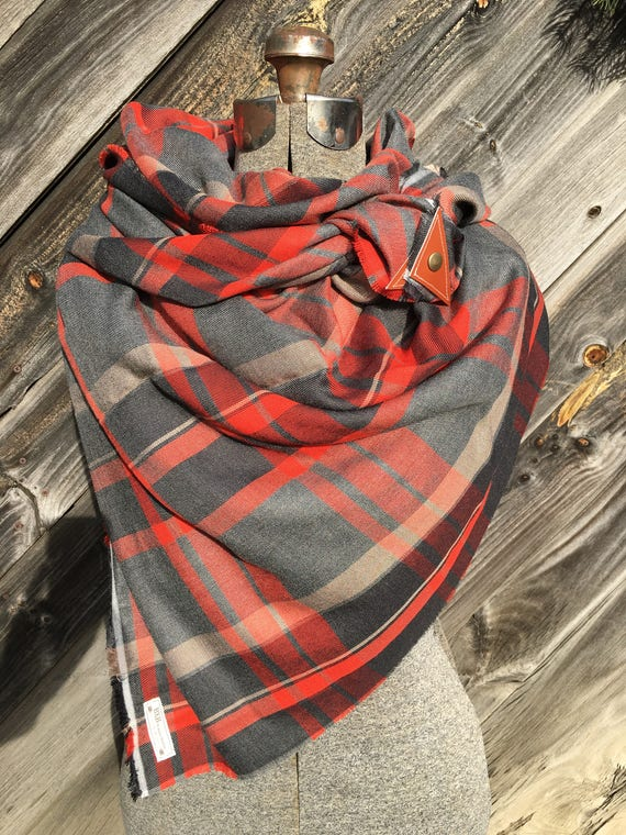 Orange, gray and white large scale plaid blanket scarf with leather detail