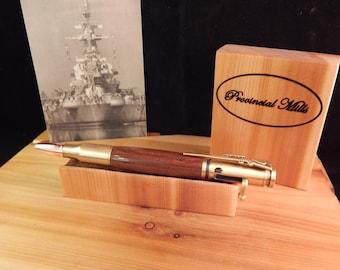 Uss North Carolina Deck Teak And Cobalt Wood Ring
