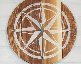 Round Wall Clock- Natural Wood with White Nautical Star