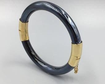 Hematite Look Gold Tone Hinged Bangle Bracelet - Modern, Sleek Gun Metal Gray Tubular Bangle