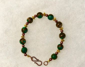 Brown, Green and Gold Speckled Bracelet