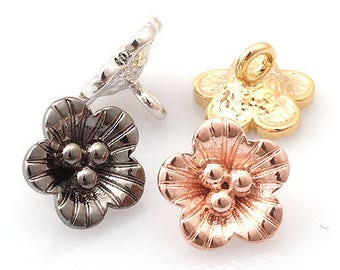 rose of Sharon flower knot type Pendant Charm 10mm 5 pieces