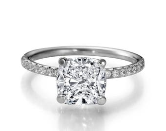 1.35 CT Real Cushion Cut Diamond Engagement Ring 14K White Gold F/SI1