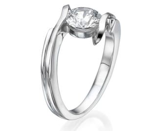 Round Cut Natural Diamond Engagement Ring 14KT White Gold 0.75 CT F/SI1