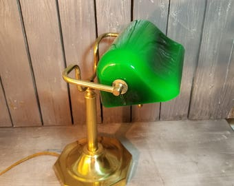 Vintage Green Glass Bankers Lamp, Brass Glass Bankers Lamp, Green Bankers Lamp, Bankers Lamp, Vintage Piano Lamp, Office Lamp