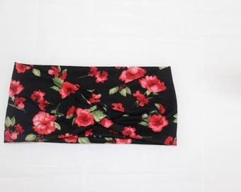 Red Floral Turban Headband, Womens Headband