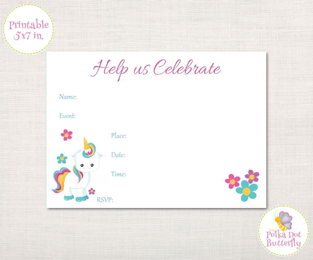 unicorn invitation fill in invitation birthday invitation. Black Bedroom Furniture Sets. Home Design Ideas