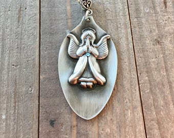 Angel pendant, angel necklace, spoon jewelry, silverware jewelry, spoon pendant, silverware pendants, angel jewelry, Mothers Day Gift,