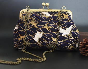"Vintage ""birds"" with detachable chain shoulder bag"