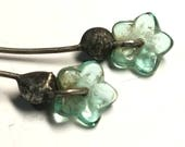 Headpins - Little Glass Flowers - Capped in Tinwork  - YOU Choose Metal Finish - One Pair - (#PTSF)