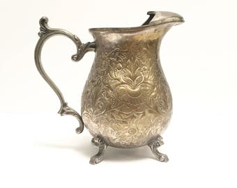 Vintage silverplate pitcher with etched floral design | brass pitcher | Indian brass | Towle | large vase