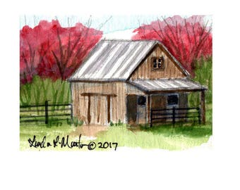 Brown Stable Barn Baby Nursery llmartin Original ACEO New Mom  Watercolor New Mom Free Shipping USA Child Children