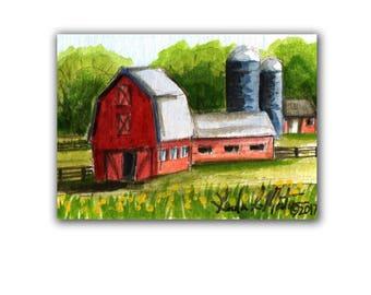 Red Milking Barn Farm Country Baby Nursery llmartin Original ACEO New Mom Grandma Miniature Watercolor Father Dad Free Shipping USA Child