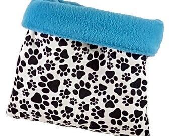 Medium dog bed, dog snuggle sack, cat bed, cat snuggle bag, plush dog bed, blue dog bed, pawprint bed