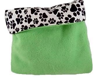 "Green 13"" x 15"" pawprint animal snuggle bag, guinea pig, ferret, hedge hog, rat, gerbil, hamster"